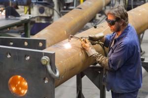 Cutting an access hole in a 54 foot high 16 inch diameter